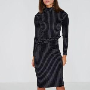 River island black pinstripe frill midi dress